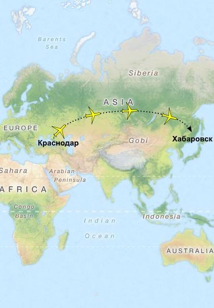 Карта: путь доставки из Краснодара в Хабаровск
