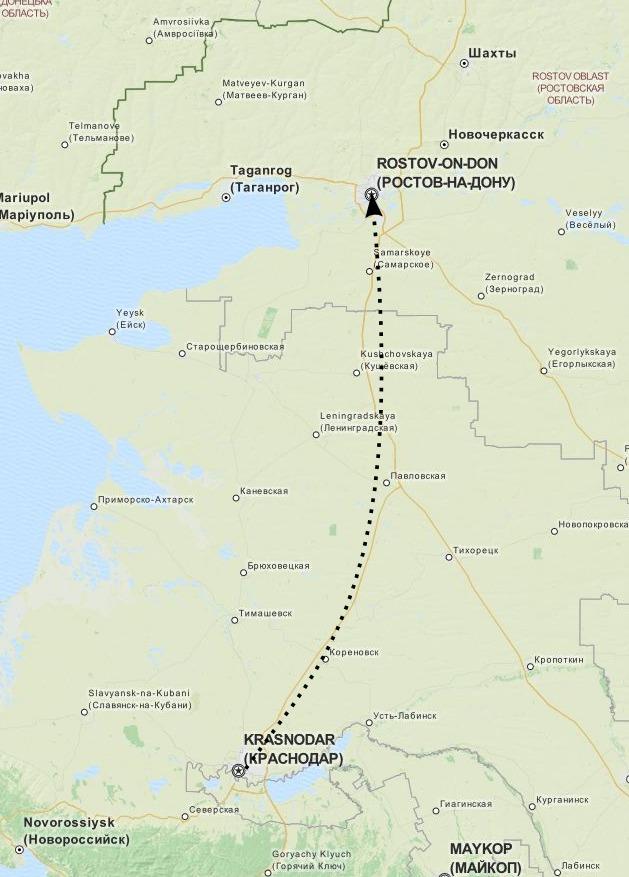 Карта: путь доставки из Краснодара в Липецк