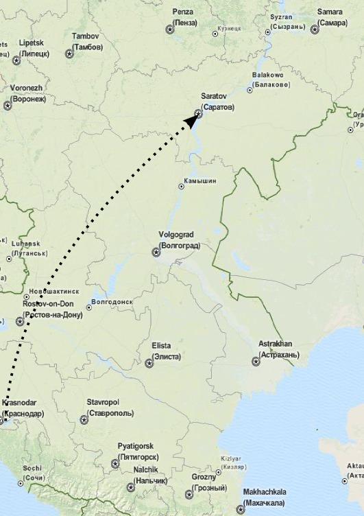 Карта: путь доставки из Краснодара в Саратов