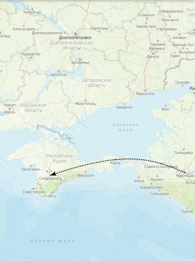 Карта: путь доставки из Краснодара в Крым