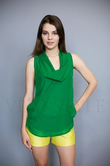Блуза из двух тканей 10510-9