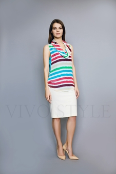 Блуза из двух тканей 10510-3