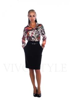 Блуза женская с модным цветочным принтом 16002-1