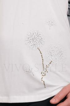 Блуза белая с красивым рисунком 10136-1