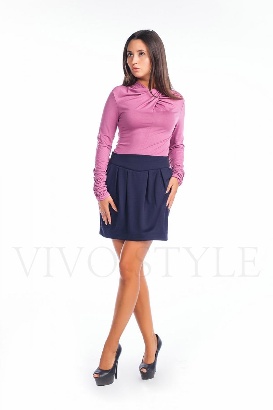 Блуза  с удлинненым узким рукавом и драпировкой по горловине