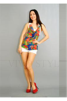 Блузка цветная, современный ретро-стиль 10246-1