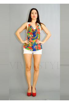 Блузка цветная, современный ретро-стиль 10246-3