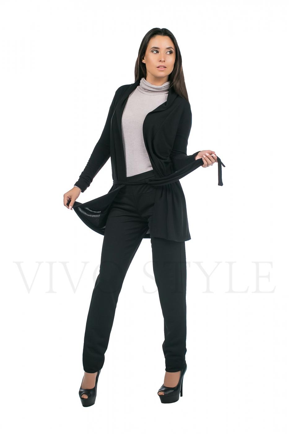 Тёплые женские брюки в комплете с теплым кардиганом