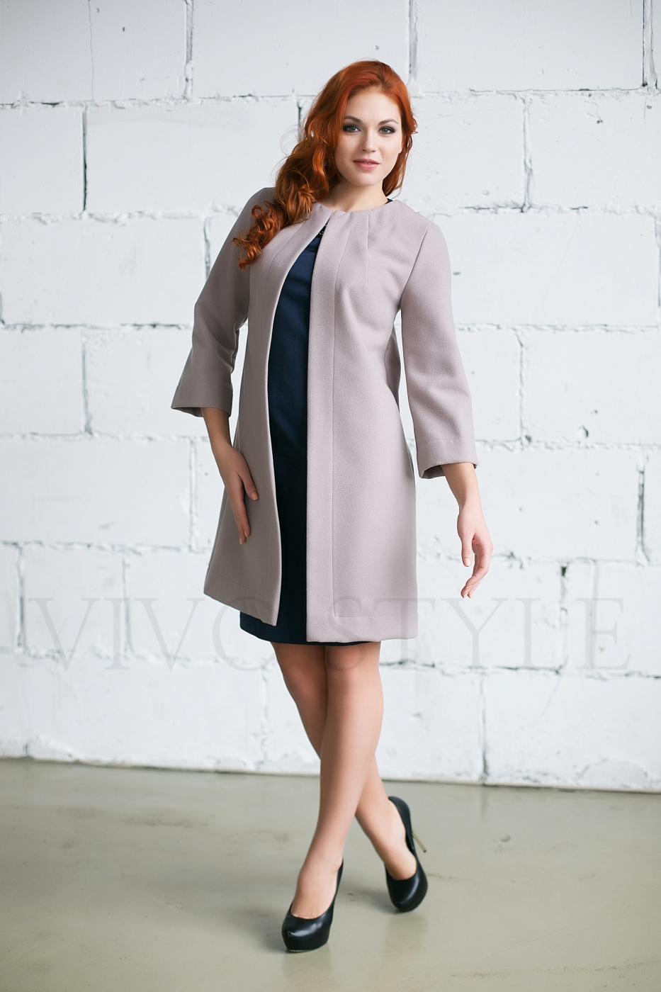 Женское однотонное пальто
