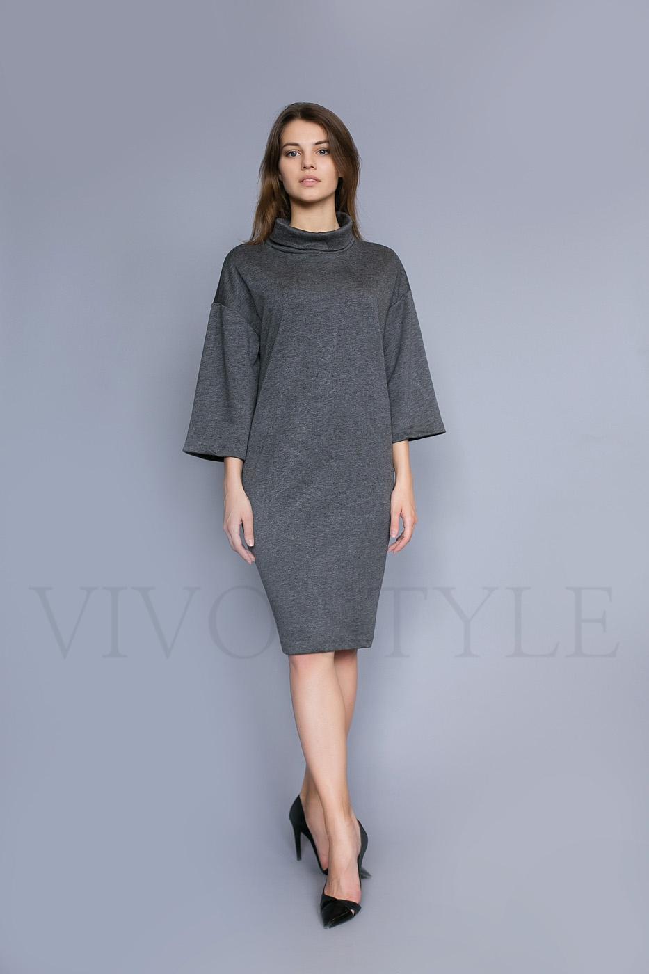 Объемное женское платье со спущенным плечом
