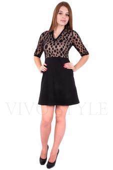 Платье с кружевом в горох 20096-1