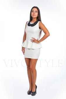 Платье короткое с баской 20124-1