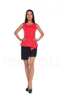 Двухцветное платье с баской 20133-3