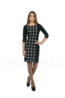 Строгое черно-белое платье 20149-2