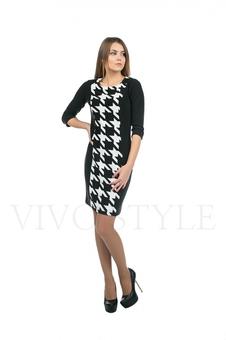 Строгое черно-белое платье 20149-1