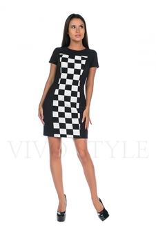 Платье мини с вертикальными рельефами 20194-1