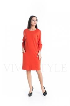Однотонное платье с длинным рукавом 20272-2