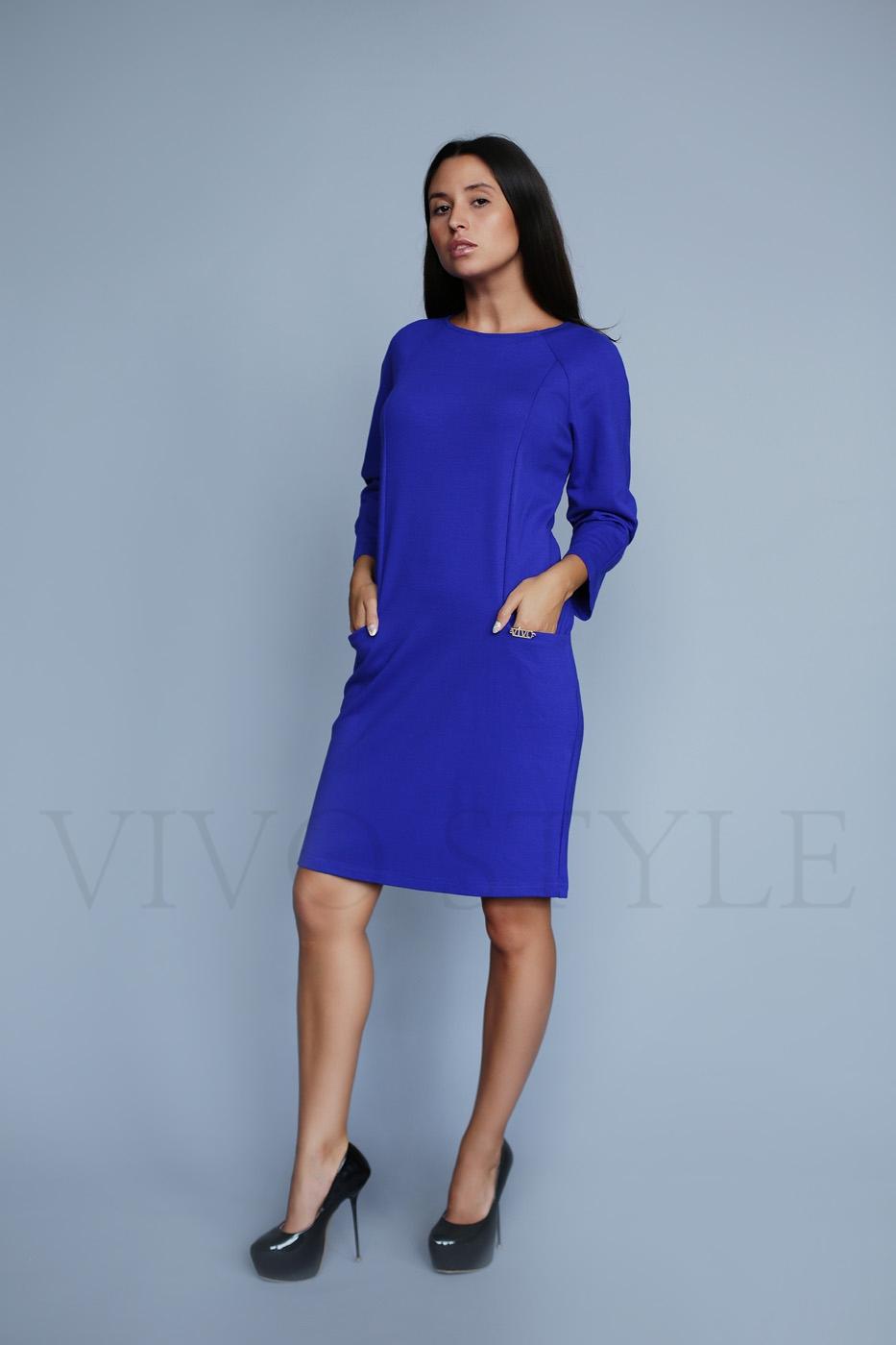 Однотонное платье с длинным рукавом