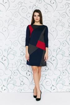 Трикотажное трехцветное платье 20274-9