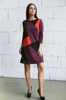 Трикотажное трехцветное платье 20274-2