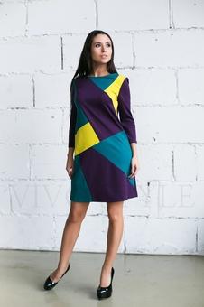 Трикотажное трехцветное платье 20274-1
