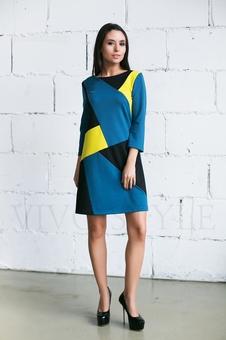 Трикотажное трехцветное платье 20274-3