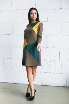Трикотажное трехцветное платье 20274-4
