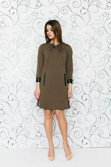 Платье с драпировкой по горловине 20527-6