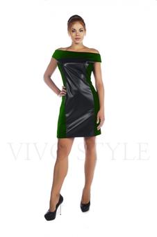 Короткое кожаное платье 20535-4