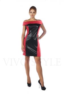 Короткое кожаное платье 20535-2