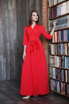 Женственное платье с рукавом три четверти 20642K-2
