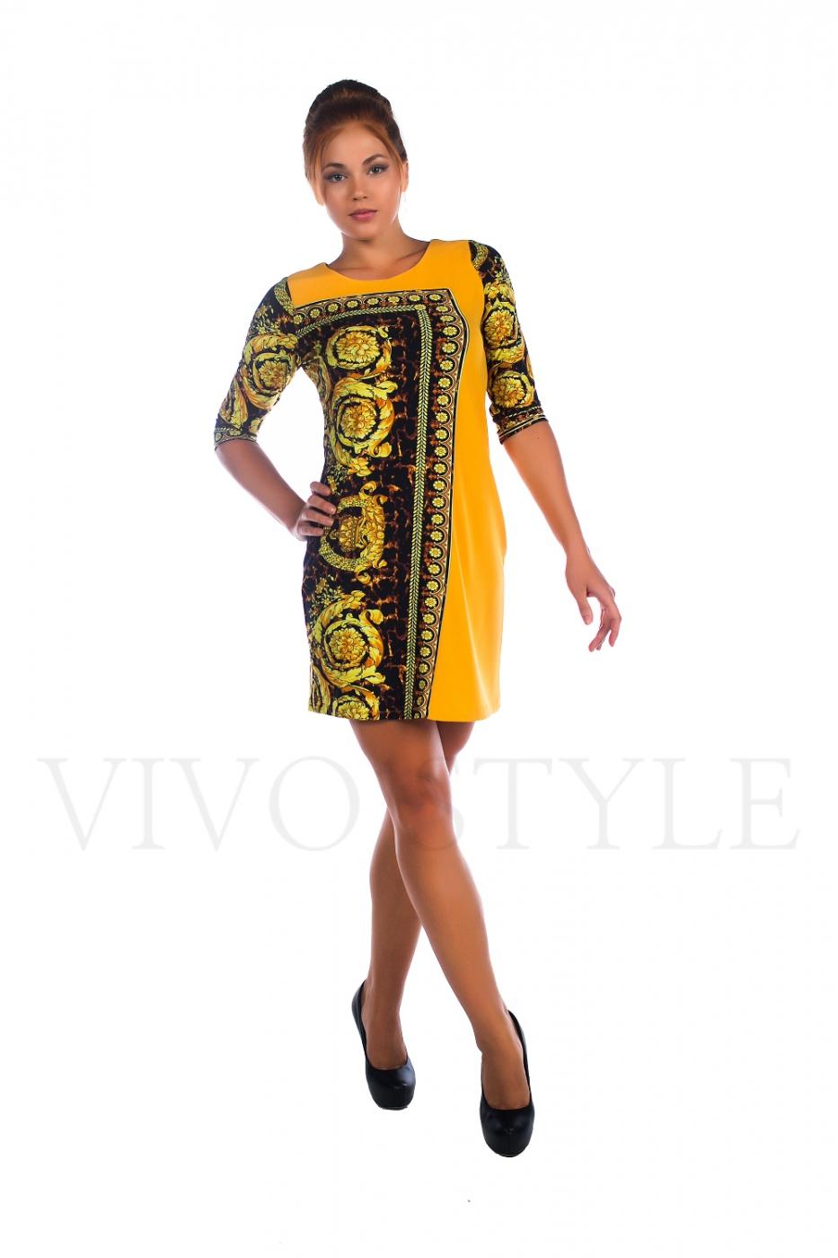 Платье трикотажное с яркой расцветкой