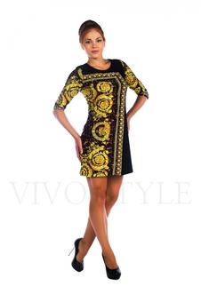 Платье трикотажное с яркой расцветкой 26013-2