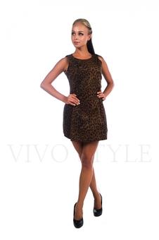 Дерзкое молодежное леопардовое платье 26016-1