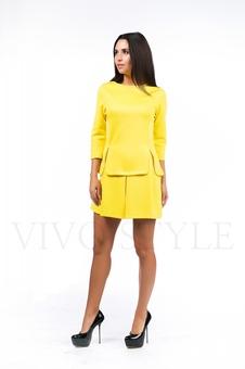 Однотонное короткое платье 26039-1