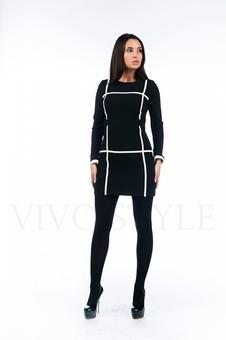 Короткое черно белое платье 26134-1