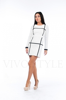 Короткое черно белое платье 26134-2