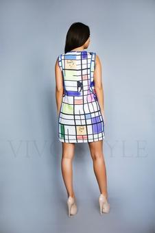 Женское короткое платье с окантовкой 26180-1