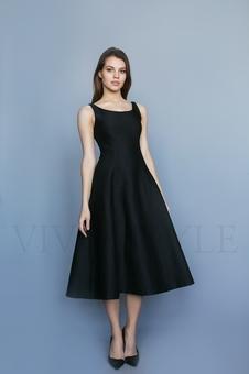 Коктейльное однотонное женское платье 26206-4