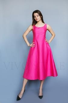 Коктейльное однотонное женское платье 26206-2