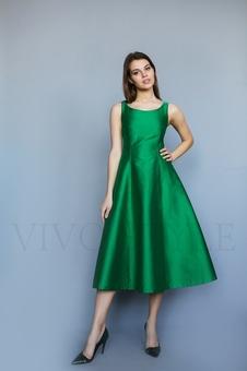 Коктейльное однотонное женское платье 26206-3