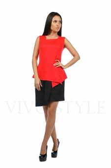Двухцветное платье с баской 20133-1
