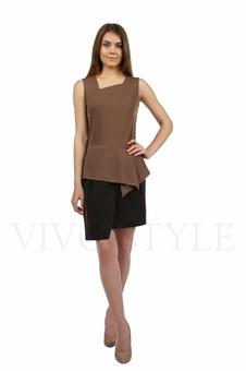 Двухцветное платье с баской 20133-2