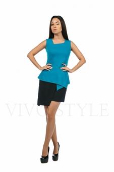 Двухцветное платье с баской 20133-4
