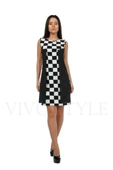 Платье с рисунком шахматной доски 20196-1