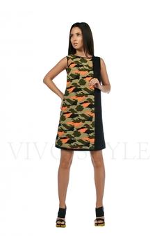 Платье с шифоновой вставкой 20206-3