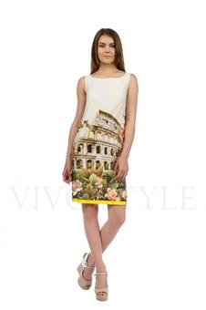 Платьебезрукавовсрисунком Колизей 20211-1