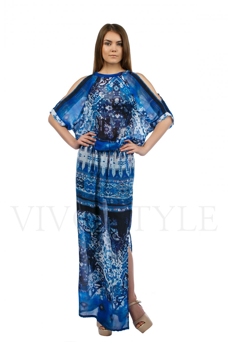 Длинное летнее платье из струящейся ткани