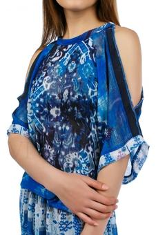 Длинное летнее платье из струящейся ткани 20218-1