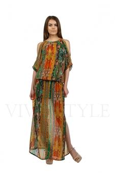 Длинное летнее платье из струящейся ткани 20218-3